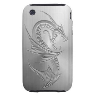 Stainless Steel Effect Dragon Graphic Tough iPhone 3 Cases