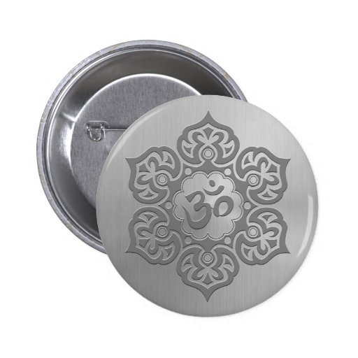 Stainless Steel Effect Floral Aum Graphic 2 Inch Round Button