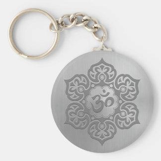 Stainless Steel Effect Floral Aum Graphic Basic Round Button Keychain