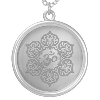 Stainless Steel Effect Floral Aum Graphic Silver Plated Necklace