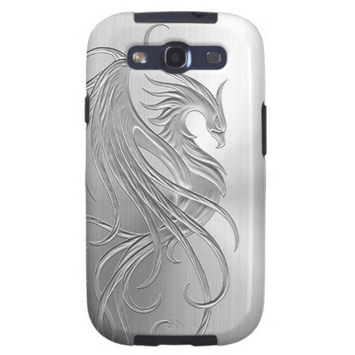 Stainless Steel Effect Phoenix Graphic Samsung Galaxy SIII Cases
