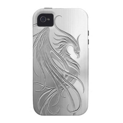 Stainless Steel Effect Phoenix Graphic iPhone 4 Cover