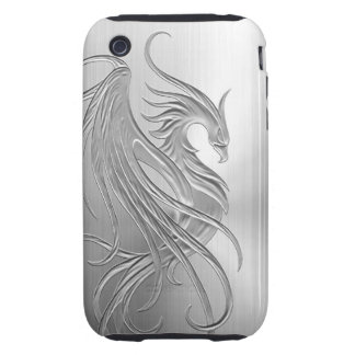 Stainless Steel Effect Phoenix Graphic iPhone 3 Tough Cases