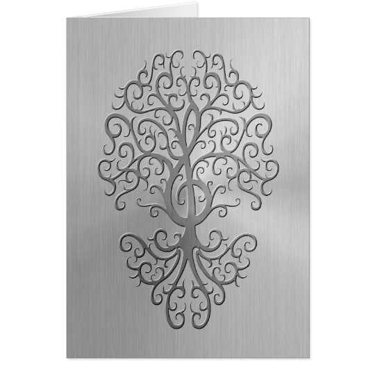 Stainless Steel Effect Treble Clef Tree Graphic Card