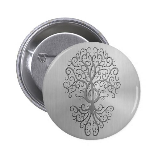 Stainless Steel Effect Treble Clef Tree Graphic Pinback Button