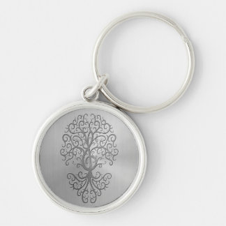 Stainless Steel Effect Treble Clef Tree Graphic Silver-Colored Round Keychain