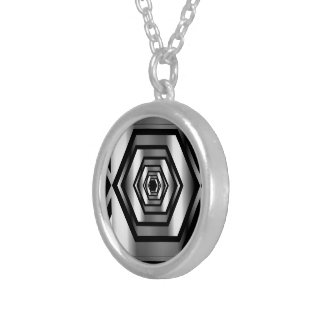Stainless steel hexagon silver plated necklace