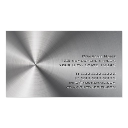 Stainless Steel Investigator Business Card (back side)