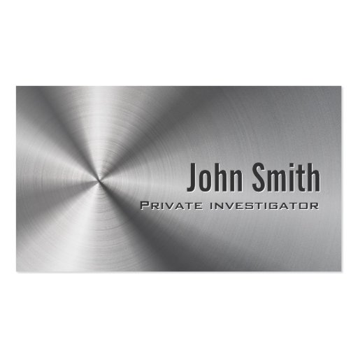 Stainless Steel Investigator Business Card (front side)