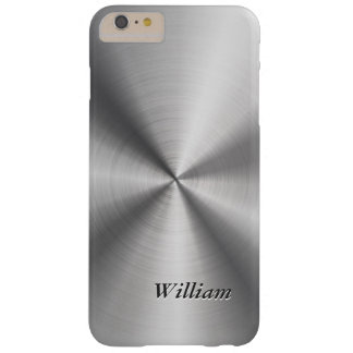 Stainless Steel Look and Custom Text Barely There iPhone 6 Plus Case
