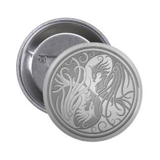 Stainless Steel Look Yin Yang Phoenix Pinback Button