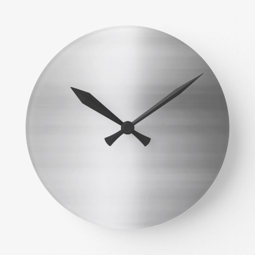 stainless steel metal look round wall clock zazzle. Black Bedroom Furniture Sets. Home Design Ideas