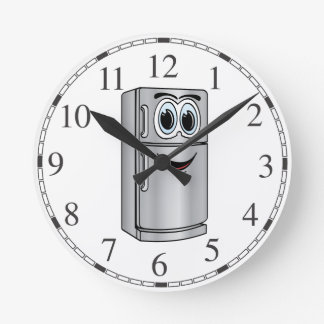 Stainless Steel Refrigerator Cartoon Round Wallclock