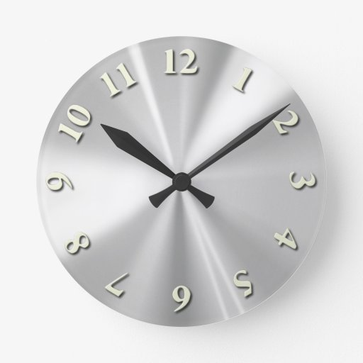 Stainless Steel Round Wall Clocks Zazzle