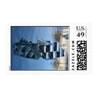 Stainless Steel Sculpture of a Boat Postage