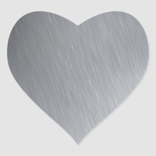 Stainless steel texture with lighting highlights heart sticker