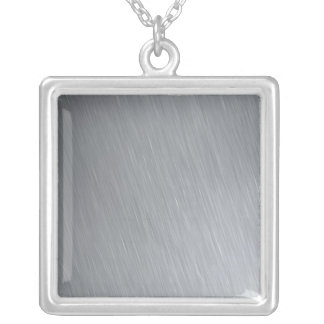 Stainless steel texture with lighting highlights square pendant necklace