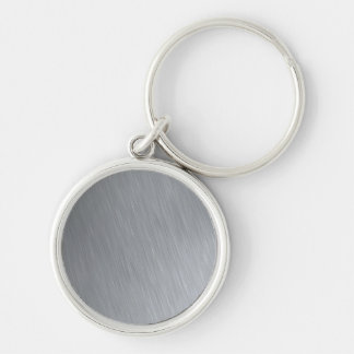 Stainless steel texture with lighting highlights Silver-Colored round keychain