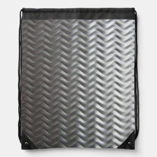 Stainless Steel Textured Industrial Metal Sheet Drawstring Backpack