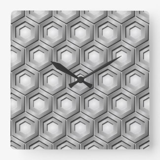 Stainless Steel Tiled Hex Square Clock