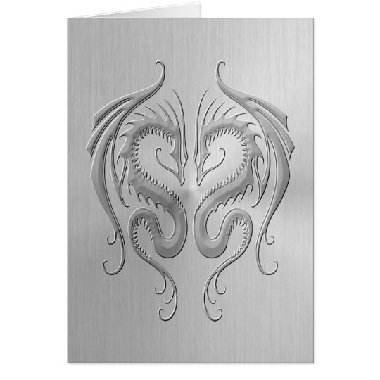 Stainless Steel Tribal Dragons Card