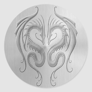 Stainless Steel Tribal Dragons Classic Round Sticker