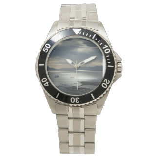 Stainless Steel watch with stunning water sunset