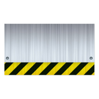 Stainless Steel with Hazard Stripes Business Card Templates