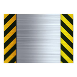 Stainless Steel with Hazard Stripes Card