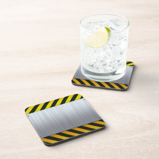 Stainless Steel with Hazard Stripes Coaster