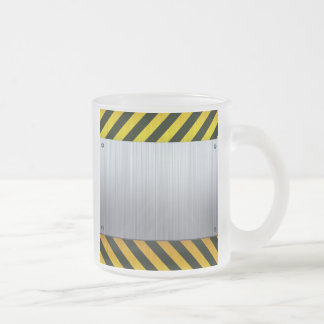 Stainless Steel with Hazard Stripes Frosted Glass Coffee Mug