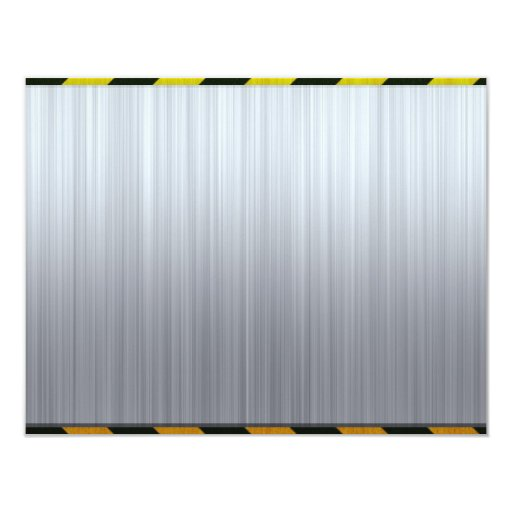 """Stainless Steel with Hazard Stripes 4.25"""" X 5.5"""" Invitation Card"""