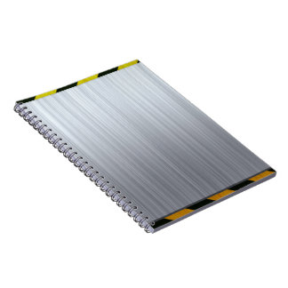 Stainless Steel with Hazard Stripes Notebook