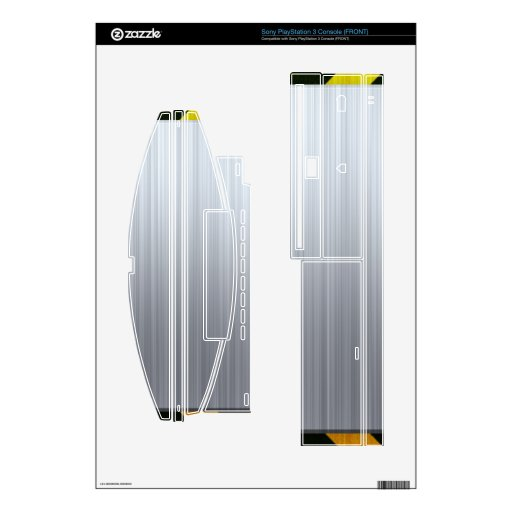 Stainless Steel with Hazard Stripes Skin For PS3 Console