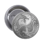 Stainless Steel Yin Yang Dragons 2 Inch Round Button