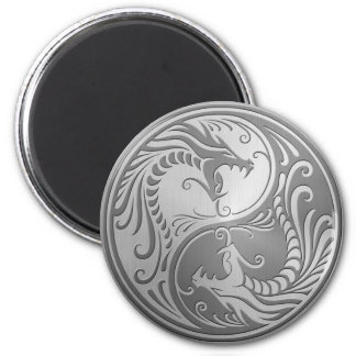 Stainless Steel Yin Yang Dragons 2 Inch Round Magnet