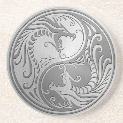 Stainless Steel Yin Yang Dragons Drink Coasters