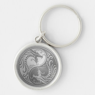 Stainless Steel Yin Yang Dragons Keychain