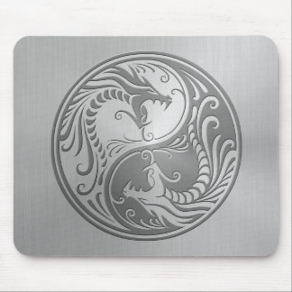 Stainless Steel Yin Yang Dragons Mouse Pad