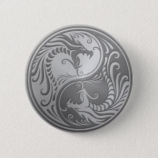 Stainless Steel Yin Yang Dragons Pinback Button