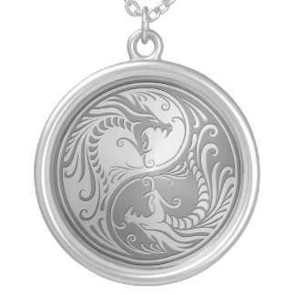 Stainless Steel Yin Yang Dragons Silver Plated Necklace