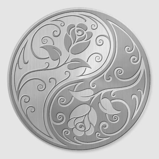 Stainless Steel Yin Yang Roses Classic Round Sticker