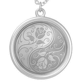 Stainless Steel Yin Yang Roses Silver Plated Necklace