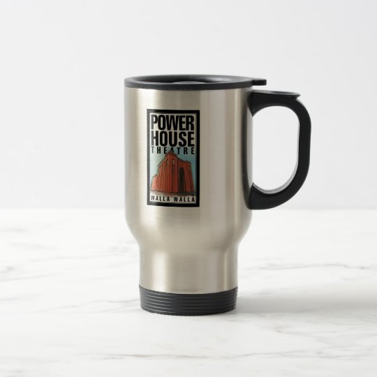 Stainless travel mug with Power House Theatre logo