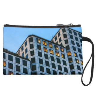 Stair-stepping Building Suede Wristlet