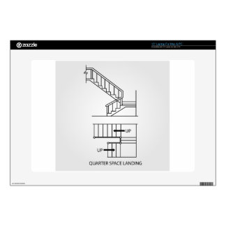 """Stair with quarter space landing decal for 15"""" laptop"""