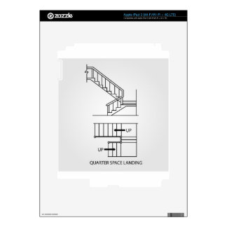 Stair with quarter space landing skin for iPad 3