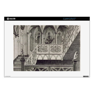 """Staircase at Strawberry Hill, engraved by J. Newto 15"""" Laptop Skins"""