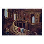 Staircase In The Castle Of Caprarola By Robert Hub Posters
