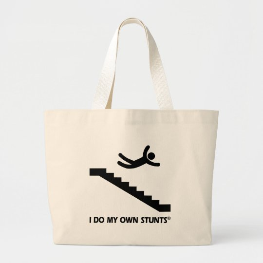 Stairs My Own Stunts Large Tote Bag